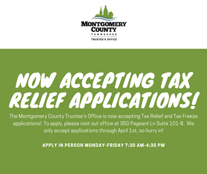 Now accepting tax relief applications